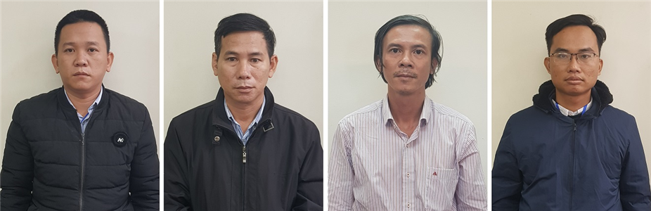 Các bị can (từ trái qua):Hoàng Trung Hậu, Nguyễn Tấn Chánh, Lê Công Bằng, Quách Văn Phúc. Ảnh: BCA