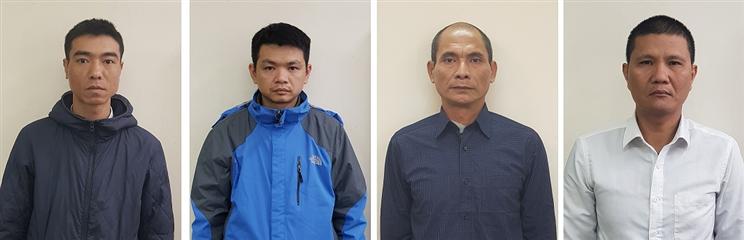 Các bị can (từ trái qua):Phan Doãn Giang,Đào Trọng Hiếu,Nguyễn Đức Dũng,Nguyễn Bá Giang. Ảnh: BCA