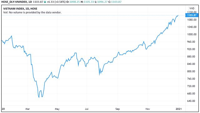 Những 'con sóng cổ phiếu' trong năm VN-Index biến động 450 điểm - Ảnh 1.