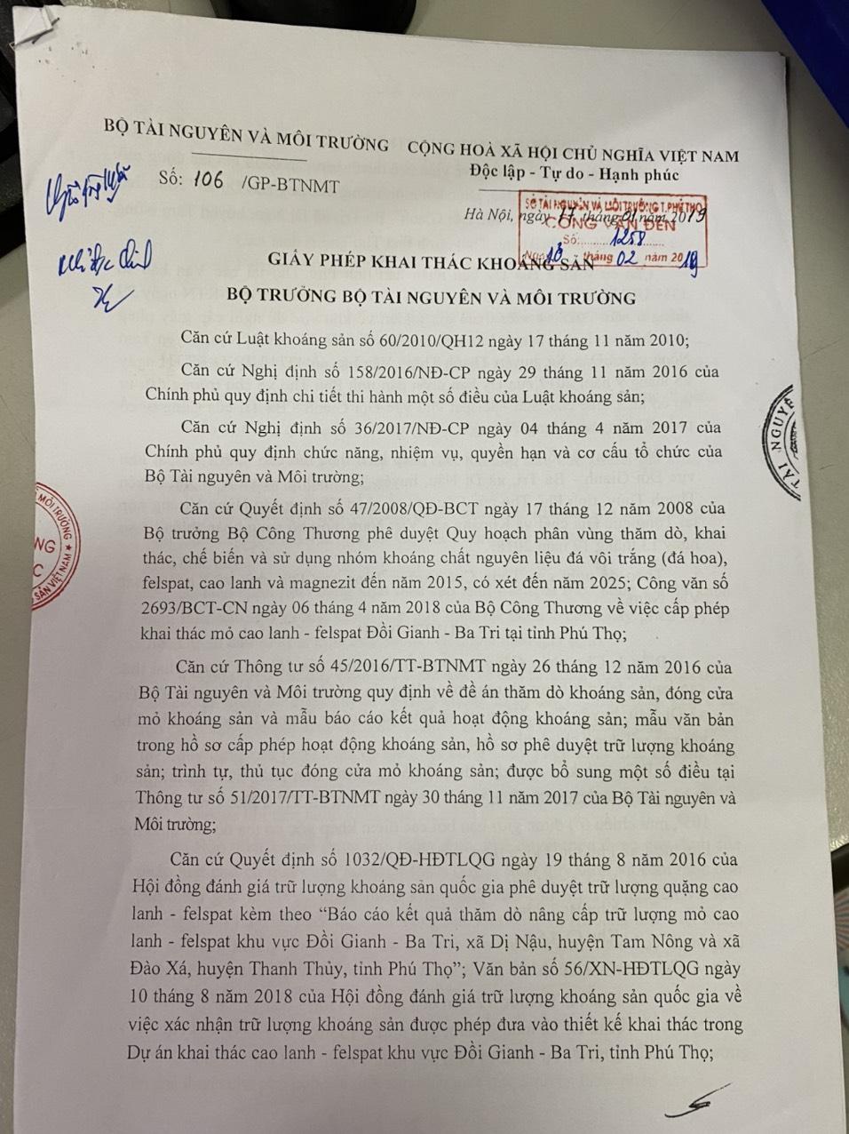 Giấy phép khai thác khoáng sản do Bộ TN&MT cấp cho Công ty Hùng Vương.
