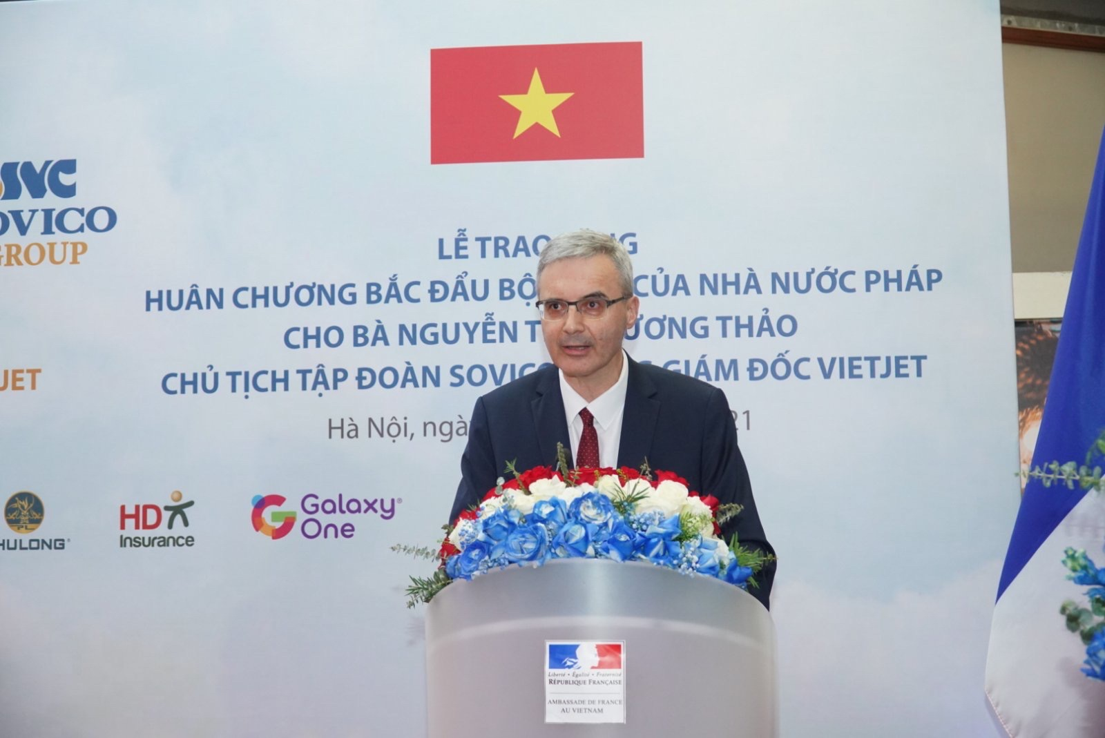 Đại sứ Cộng hòa Pháp tại Việt Nam Nicolas Warnery phát biểu tại buổi lễ.
