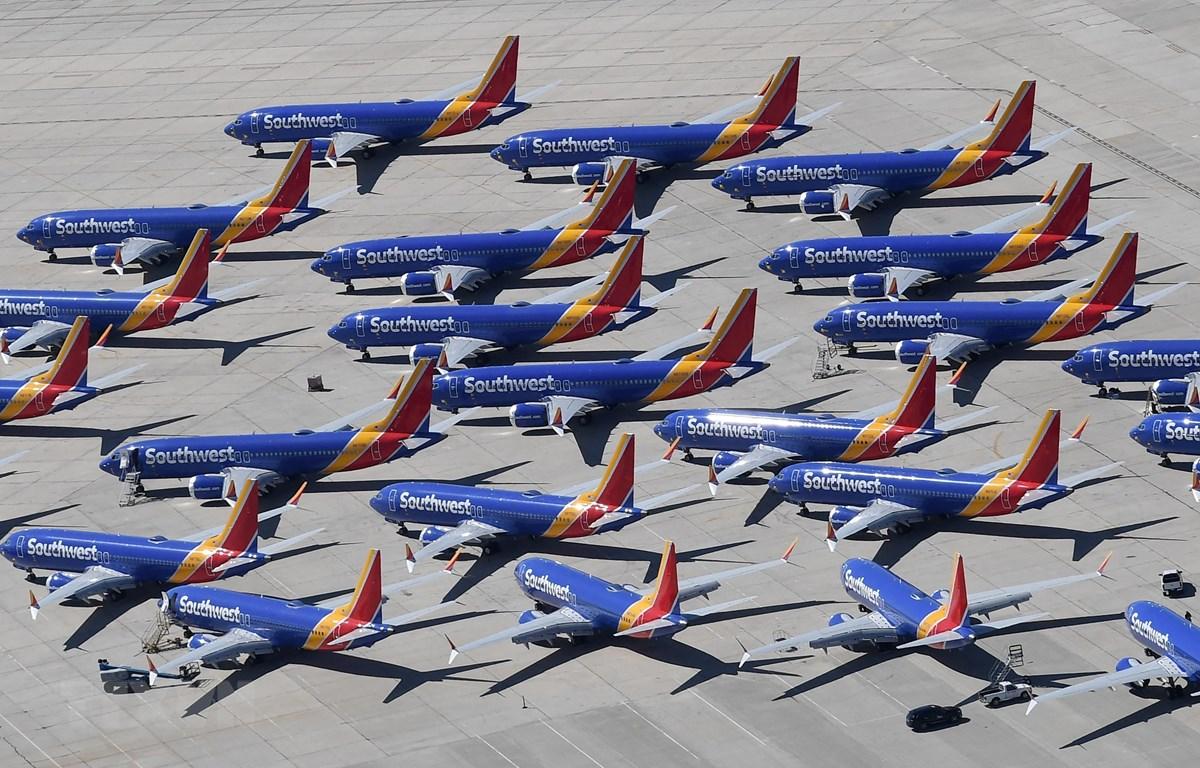 Máy bay Boeing 737 MAX của Southwest Airlines tại sân bay ở Victorville, California, Mỹ, ngày 28/3/2019. (Ảnh: AFP/TTXVN).