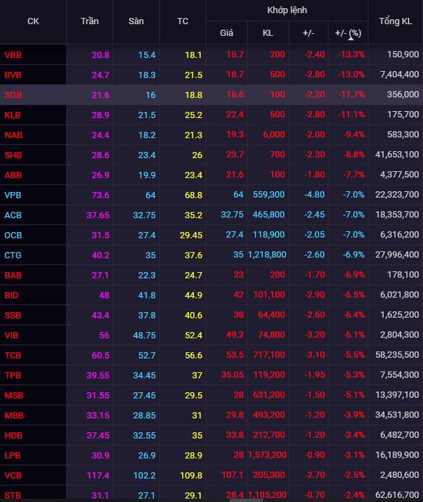 Cổ phiếu ngân hàng lao dốc, CTG, VPB, ACB giảm kịch sàn - Ảnh 1.