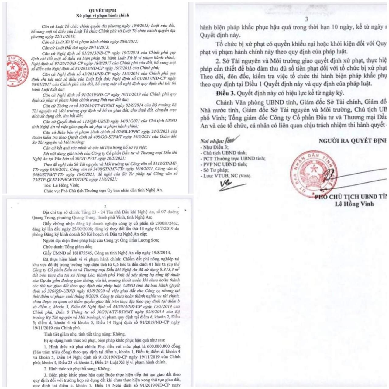 Quyết định xử phạt của UBND tỉnh Nghệ An về hành vi chiếm đất nông nghiệp trong khu vực đô thị của PVIT tại dự án Hưng Lộc.